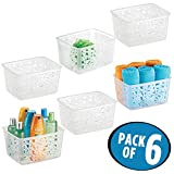 mDesign Bathroom Storage Organizer Nesting Basket, for Shampoos, Soap, Lotion - Pack of 6, Clear