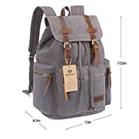 BLUBOON Canvas Vintage Backpack Leather Casual Bookbag Men Rucksack from BLUBOON