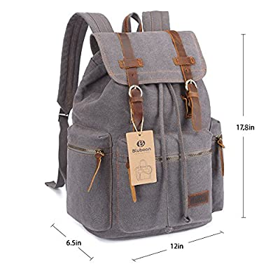 BLUBOON Canvas Vintage Backpack Leather Casual Bookbag Men Rucksack