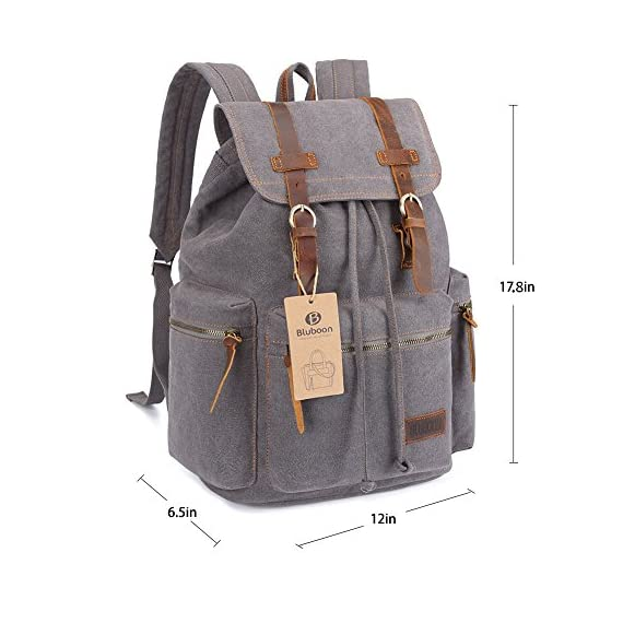 "BLUBOON Canvas Vintage Backpack Leather Trim Casual Bookbag Men Women Laptop Travel Rucksack 2 This BLUBOON canvas backpack is classic, nice vintage look and feel, back pack shows your outstanding temperament There are multiple interior pockets everywhere in backpacks, you can store things in places sure to have room for every little things you need organized,This backpacks is ideal for school, work, traveling and hiking You can put: 15.6 inch laptop,wallet,keys,ipad,tablet,glasses,cell phone,water bottle,umbrella,clothes,books,school supplies or others in the backpacks,A laptop sleeve with velcro secured pocket which fits 15"" laptop. It's highly protective to tighten with drawstring for the main compartment"