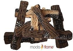 Moda Flame Ceramic Fireplace Wood Log Set