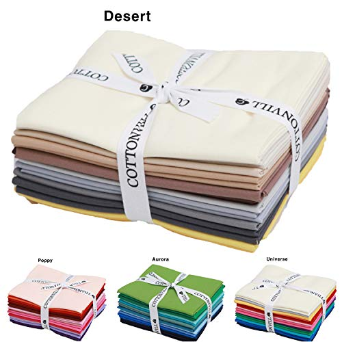 COTTONVILL Precut Fat Quarter 12pcs Cotton Solid Quilting Fabric (Desert)