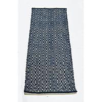 Chardin Home 100% Cotton Diamond Runner Rug Fully Reversible, Size -2x5, Machine Washable, Navy/Ivory