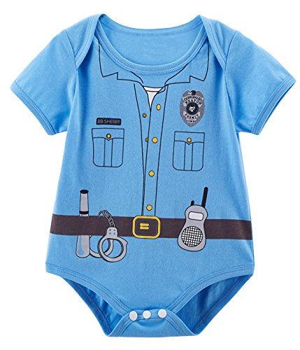 [Mombebe Baby Boys' Police Costume Bodysuit (3-6 Months, Blue)] (Costumes Ideas For 4)
