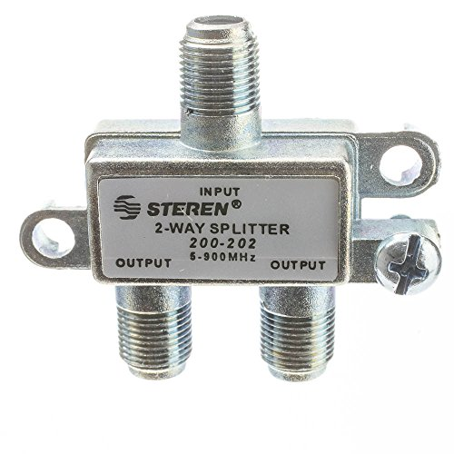 CableWholesale F-pin Coaxial Splitter, 2 Way, 5-900 MHz, UHF-VHF-FM, OTA/Broadcast tv/Antenna
