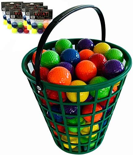Aviat Bucket O Colored Golf Balls Blue, Green, Orange, Yellow, Purple, Red Golf Ball Basket
