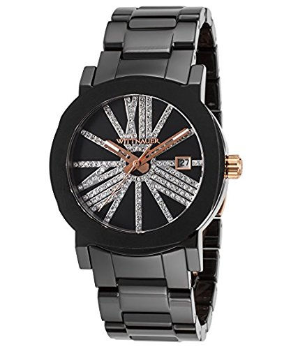 Wittnauer Black IP Bracelet Rose Gold Accent Crystal Watch WN4070 (Black Accents Crystal)