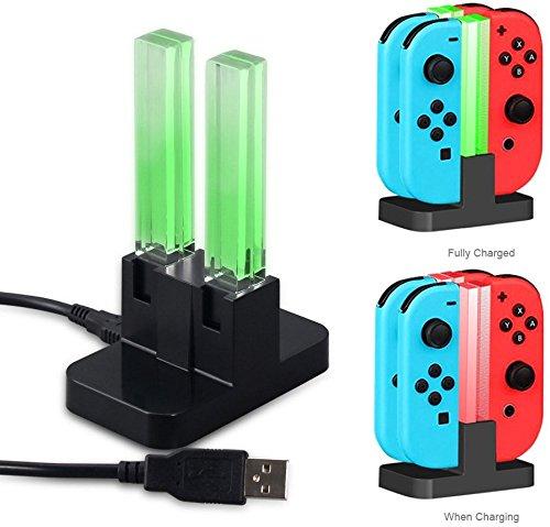 Ladestation für Nintendo Switch Joy-con, Likorlove Nintendo-Ladegerät Joy-con & Pro Controller 4 in 1 Ladestation, Joy-Con Ladegerät für Nintendo Switch mit 4 Ladestation + LED Anzeige mit Ladestecker für Nintendo Switch Controller