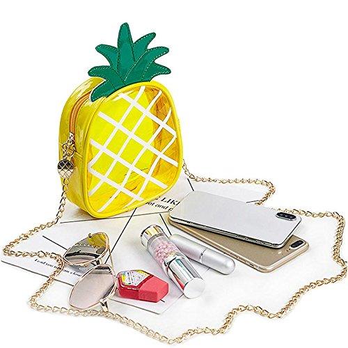 Sac Sac Fermeture Mini Ananas Style Femme Filles Hanche Sacs bandoulière à Transparente Fruits Chaîne FOONEE Main Sac Éclair pour à PVC de en pxSECnT