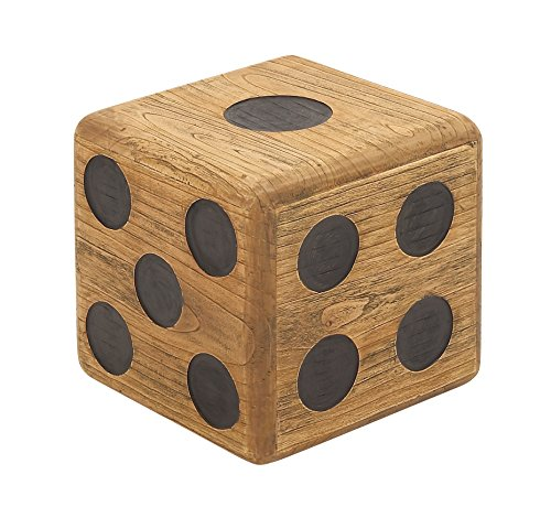 Deco 79 59205 Wood Teak Dice Stool, 16'' x 16'' by Deco 79