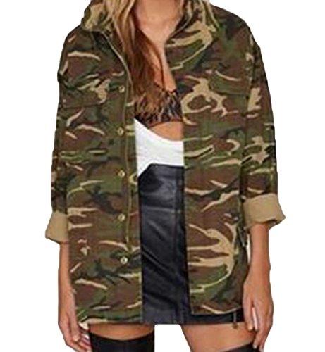 Camo Cargo Skirt (FreelyWomen Freely Women Zip Up Stand Collar Cargo Pocket Camouflage Jacket Overcoat Army Green XL)