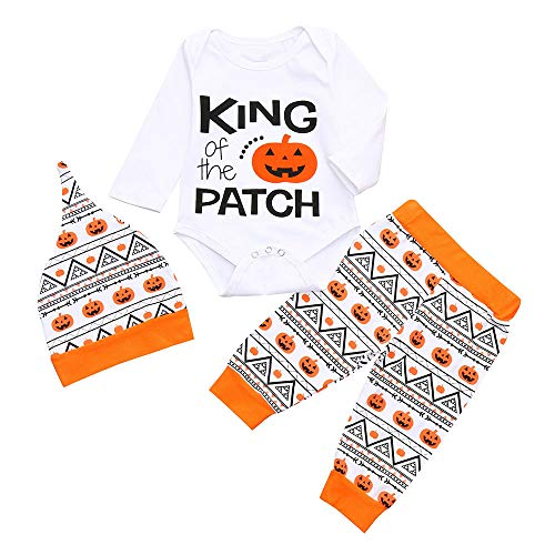 MOONHOUSE Toddler Kids Baby Girls Girls ❤️❤️ Halloween Cosplay Pumpkin Romper+Pants+Hat Costume Party Outfits Set (18-24 M, White)