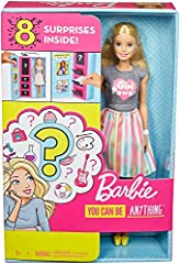 The Barbie surprise careers dolls delight kids with an unboxing experience that has eight pieces to discover! Each doll comes with two career looks featuring professionally themed clothing and accessories -- but which careers? Kids unbox to d...