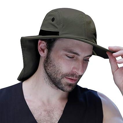 fb2bdec87ef EachWell Outdoor Fishing Hat Ear Neck Flap Cover Wide Brim Sun Protection  Safari Cap Men Women