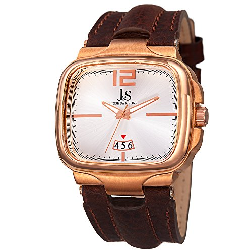 Joshua & Sons Men's Square Bezel Case Swiss Quartz Watch, Genuine Leather Leather Strap (Model: JX117) (Brown Strap/White Dial)