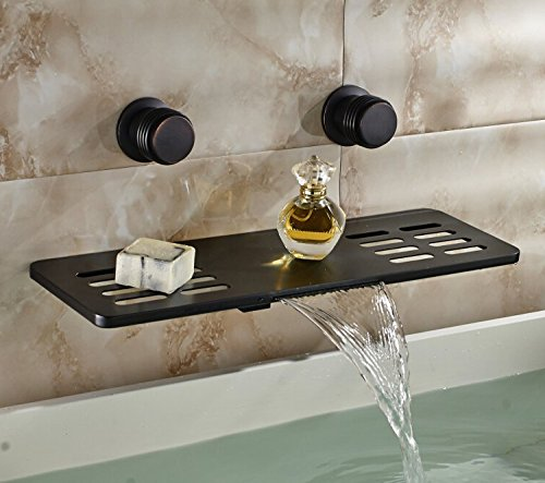 Rozin Multifunction Waterfall Shelf Spout Bathtub Faucet Wall Mount Mixer Tap Oil Rubbed Bronze (Bathtub Mount Wall Faucet)