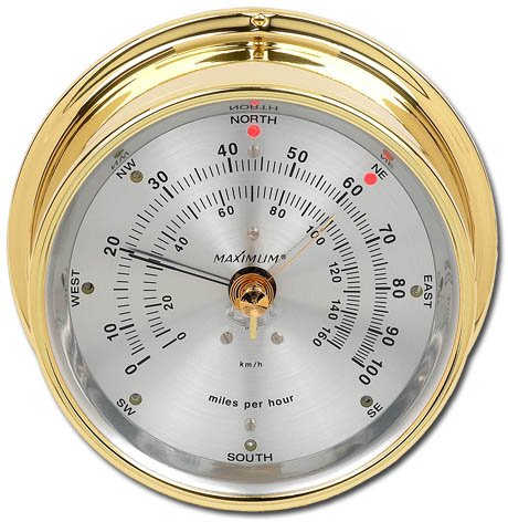 Maestro Wind Speed & Direction Monitor, Brass Case & Silver Dial