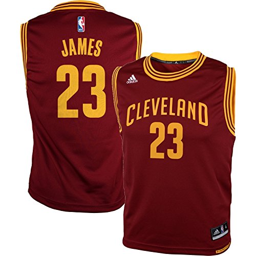 adidas Lebron James Cleveland Cavaliers Burgundy NBA Youth Revolution 30 Replica Jersey Large (Youth Replica Adidas Nba Jersey)