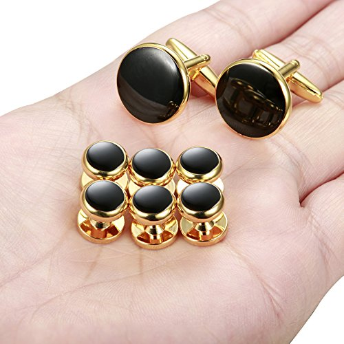 ORAZIO Mens Classic Cufflinks and Studs Set for Tuxedo Formal Kit Business or Wedding Shirts by ORAZIO (Image #4)