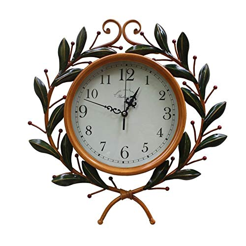 Iron Wrought Branch (Tianqi Art Clock Made of Old Olive Branch Wall Clock Living Room Silent Clocks Creative Decoration Wrought Iron European Style Vintage Wall Clock)