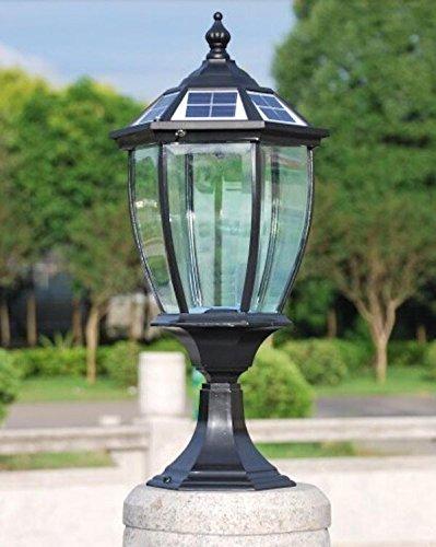 The Round Extra Large Solar Post Cap Lights or Solar Pillar, Diameter: 9.8 Inch; Height: 20.5 Inch. Solar Powered Post Caps. Elegantly Designed Solar Light Post Caps (New Metal Black) by Smart Light (Image #2)