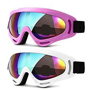 Ski Goggles, Updated Snowboard Goggles for Kids Men Women Boys & Girls UV 400 Protection Windproof Anti-Glare Goggles for Skiing Snowmobile Motorcycle Bicycle (pink & white) Heeta
