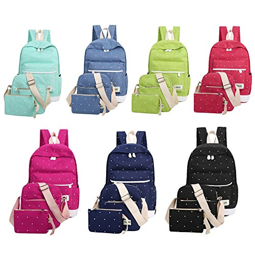 Tula Mini - Tulas Fresh Canvas Women Backpack Big Girl Student Book Bag with Purse Laptop 3pcs Set Bag Ladies School Bag (Rosered)