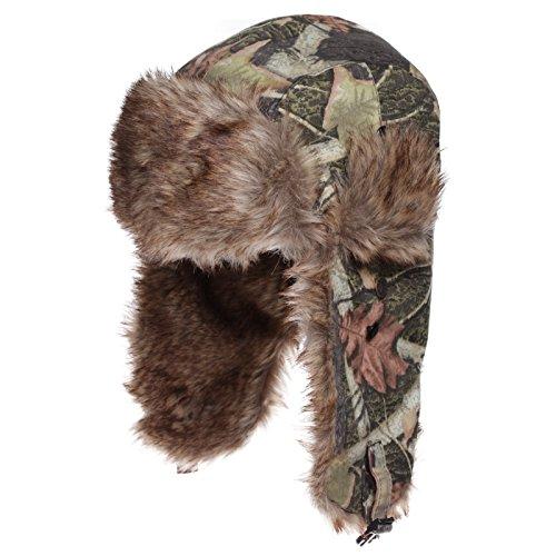 Dakota Dan Trooper Ear Flap Cap w/ Faux Fur Lining Hat (Camo Green/Brown) (Camo Bomber Mad Hat)