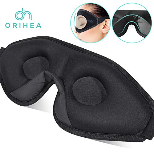 OriHea Eye Mask for Sleeping - 3D Comfort Soft Sleep Mask Men Women - Block Out Light 100% Eye Shade Cover - Adjustable Premuim Silk Foam Blindfold - Travel/Naps/Yoga/Plane/Night