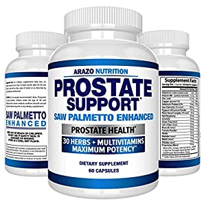 Prostate Supplement – Saw Palmetto + 30 Herbs – Reduce Frequent Urination, Remedy Hair Loss, Libido – Single Homeopathic Herbal Extract Health Supplements – Capsule or Pill – Arazo Nutrition