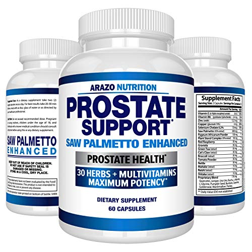 Prostate Supplement - Saw Palmetto + 30 Herbs - Reduce Frequent Urination, Remedy Hair Loss, Libido - Single Homeopathic Herbal Extract Health Supplements - Capsule or Pill - Arazo -