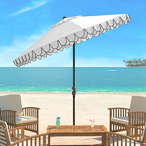 Safavieh PAT8006E Outdoor Collection Elegant White and Black Valance 9Ft Auto Tilt Umbrella