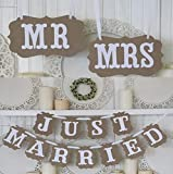 MR & MRS JUST MARRIED Rustic Wedding Decoration Flag Garland Wedding Banner With White Ribbon Party Decorations