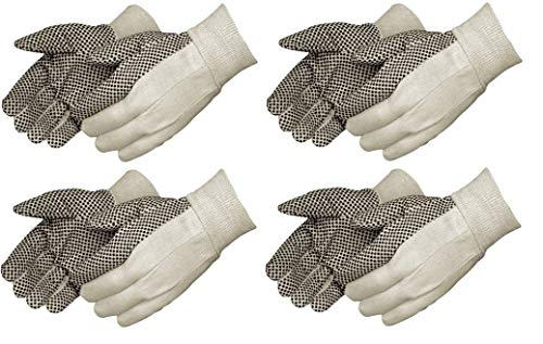 Liberty 4505A 10 oz Cotton Canvas Men's Glove with Black PVC Dots On Palm (4 X Pack of 12)