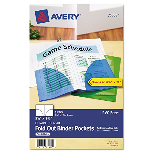Avery 75308 Small Binder Pockets, Fold-Out, 5 1/2 x 9 1/4, Assorted (Pack of 3) ()