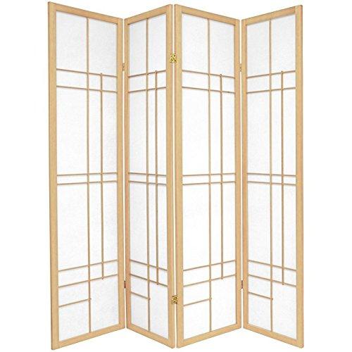 Oriental Möbel asiatischen Dekor druckknopfstiel Eudes Japanische Shoji zusammenklappbar Sichtschutz Boden Bildschirm Raumteiler, 4Panel natur
