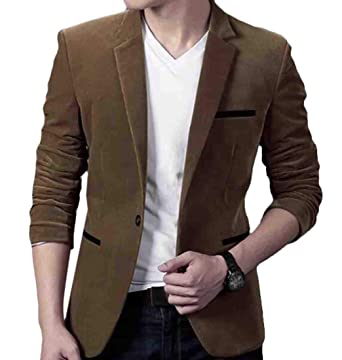 495962a87b016 GRMO Men Plus Size Corduroy Slim Casual Vogue Blazer Jacket Brown US XS