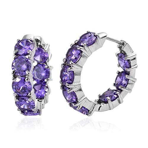 Stainless Steel Cubic Zircon CZ Purple Inside Out Huggie Hoop Earrings for Women Gift Jewelry Cttw 18