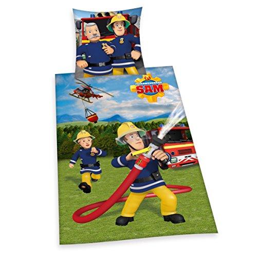 Herding 447034050 Bettwäsche Feuerwehrmann Sam, Kopfkissenbezug: 80 x 80 cm und Bettbezug: 135 x 200 cm, 100 % Baumwolle, Renforce