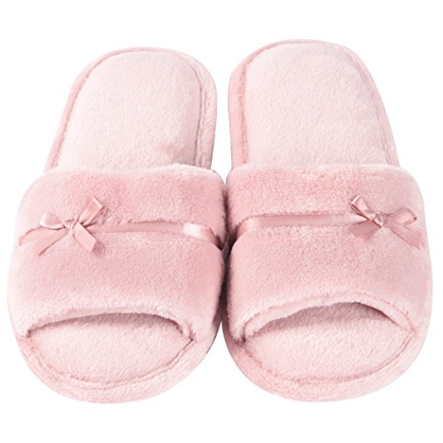 Memory Womens Indoor Non Foam Fuzzy Home Soft Slip Open Toe Flannel Slippers Slippers Pink Slipper Ix1RA8
