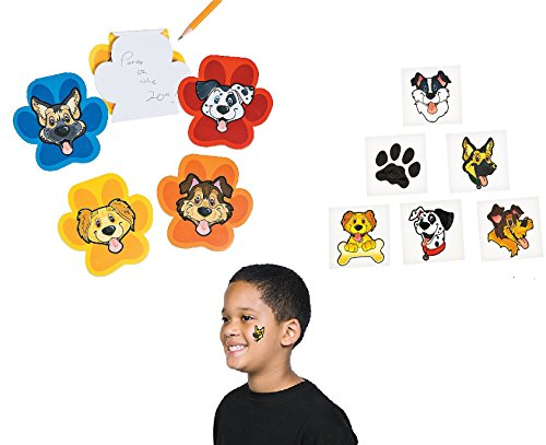 Adorable 48 pce. PUPPY PARTY FAVORS/12 Puppy Notepads & 36 Puppy Tattoos/Dog/Pet/Party/Giveaway/Goody Bag