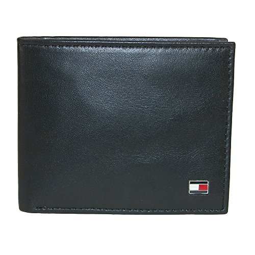 Tommy Hilfiger Men's Leather Slim Billfold Wallet, Black