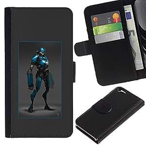 ZCell / Apple Iphone 6 / Superhero Blue Costume Cartoon Comic Art / Caso Shell Armor Funda Case Cover Wallet / Superhéroe Azul vestuario