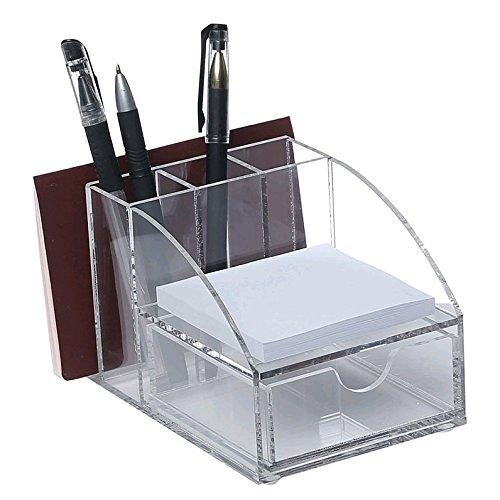 Ikee Design Acrylic Premium Desktop Office Supplies Organizer w/Post It Note Pad Holder, Mail Storage & 3 Pencil Slots