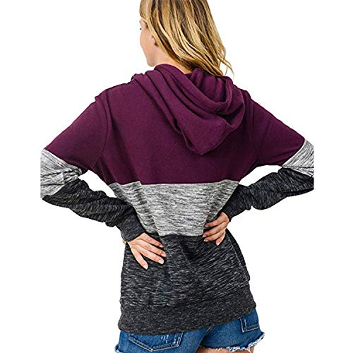 Women Hoodies Stripe Long Sleeve Cowl Neck Drawstring Pullover Sweatshirts Tops Wine