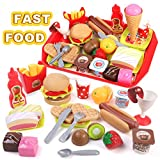 GILOBABY Kids Play Food Toys, Cutting Fast Food Set