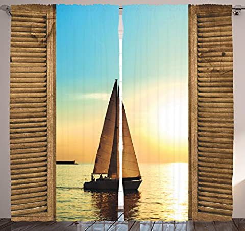 Ocean Curtains Decor by Ambesonne, Sail Boat Through Wooden Windows Nautical Scenery View Picture, Curtains for Bedroom Living Room Two Panels Set, 108 X 90 Inches, Blue Brown