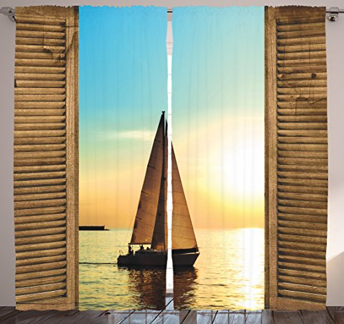 - Ambesonne Ocean Decor Curtains, Sail Boat Through Wooden Windows Nautical Scenery View Picture, Window Drapes 2 Panel Set for Living Room Bedroom, 108 X 84 Inches, Blue and Brown
