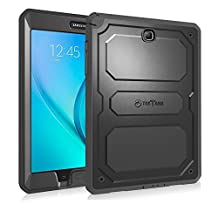 Fintie Samsung Galaxy Tab A 8.0 Case [CaseBot Tuatara] - Rugged Unibody Dual Layer Hybrid Full Protective Cover with Built-in Screen Protector and Impact Resistant Bumper, Lifetime Warranty, Black