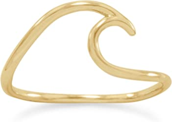 14K Gold Plated Sterling Silver Wave Ring, Sizes 5-9, 1.2mm Band